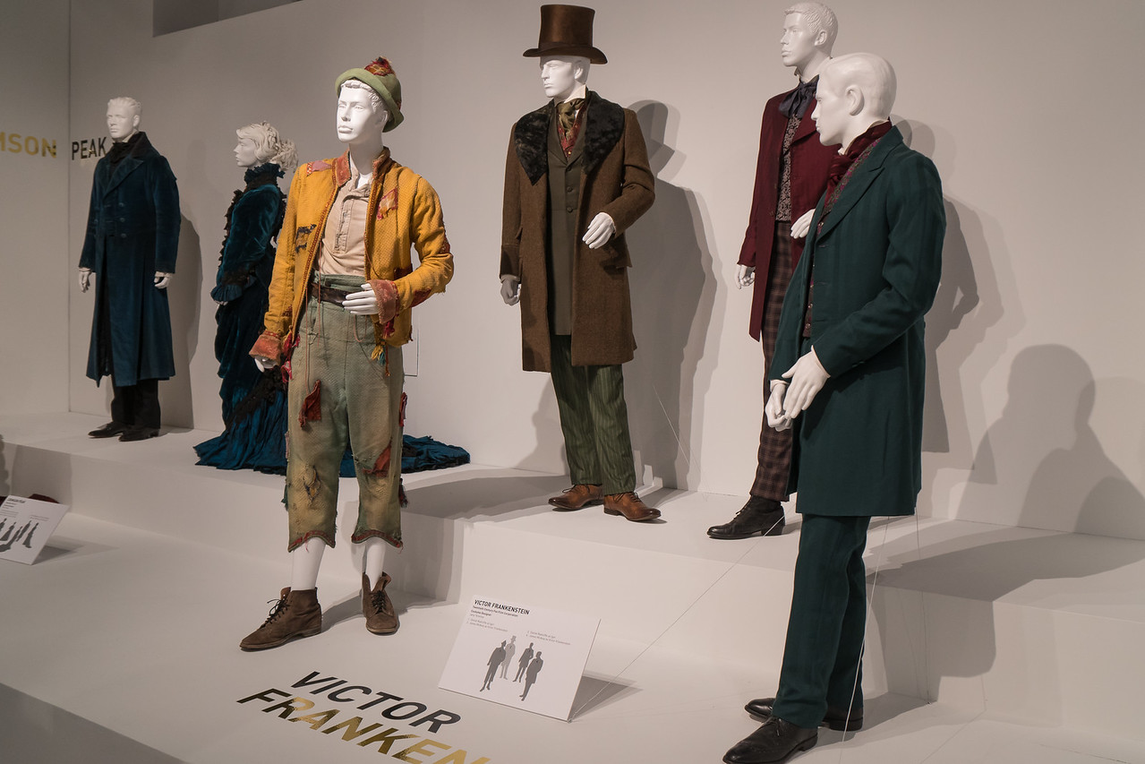 Display showing costumes from movie Victor Frankenstein
