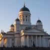 HELSINKI. HELSINGFORS. HELSINKI CATHEDRAL [TUORMIOKIRKKO] DURING SUNSET IN SUMMER.
