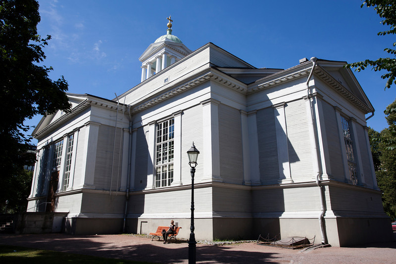 HELSINKI. HELSINGFORS. THE OLD CHURCH (MADE OF WOOD) IN SUMMER.