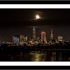 17x34 Frame - 13x30 Matte - Cleveland Skyline Under A Full Moon