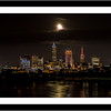 17x34 Frame - 13x30 Matte - Cleveland Skyline Under A Full Moon