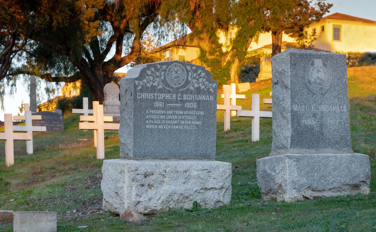 Headstones for the Bohannan family at Fairmount Cemetery
