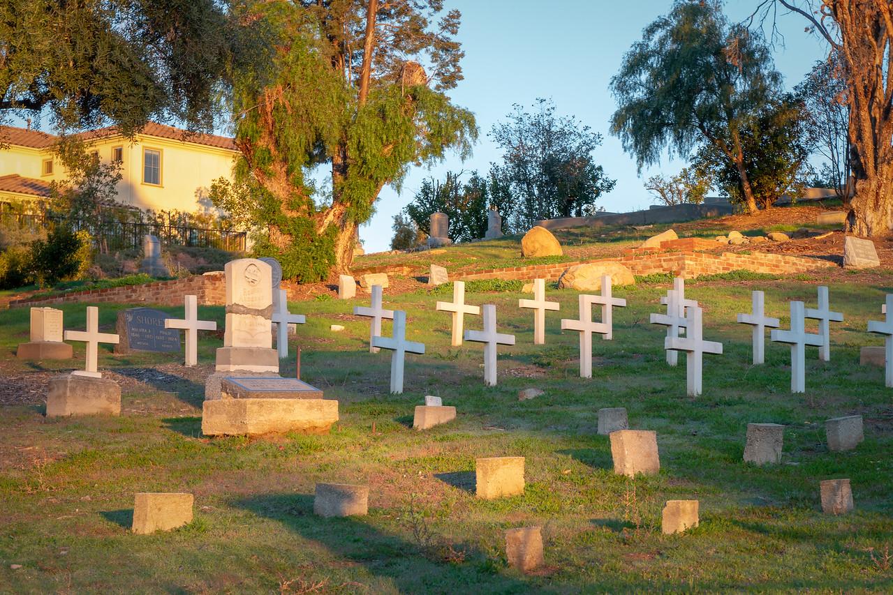 Dawn shining on San Felipe Hill and Fairmount Cemetery