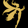 big gold fairy on black