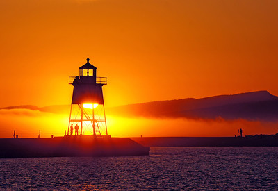 Foggy Sunset Over Lake Superior 1