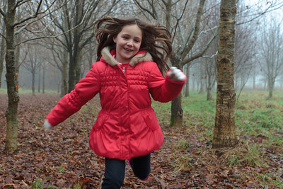 Ellie running in the woods