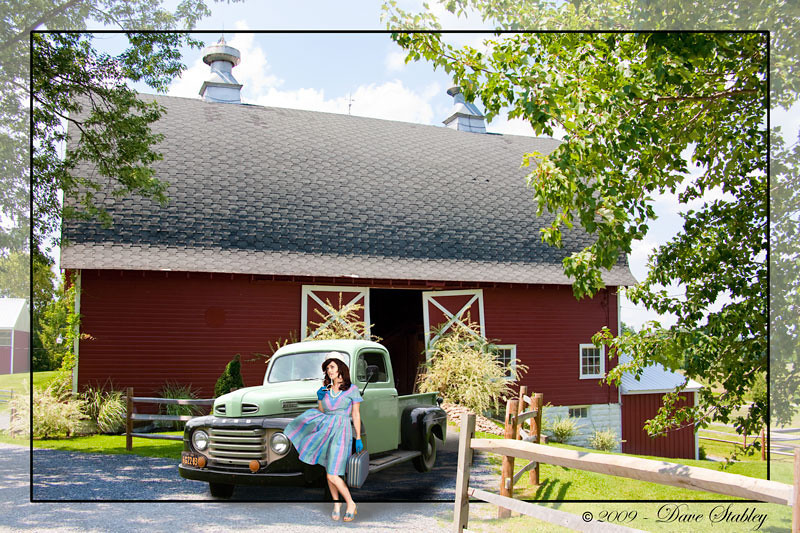 How ya gonna keep em down on the farm.  This is a composite of three different shots, the barn, the truck and the model...the three never met in real life.