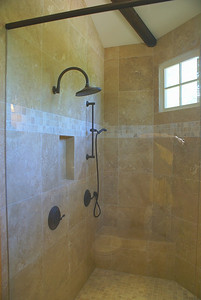 New master bath's dual shower.