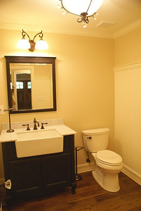 New farmhouse powder room.  Original laundry room was converted to add the powder room.