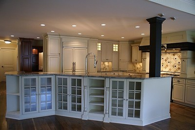 New farmhouse kitchen island from family room addition.