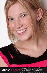 Young female model with blond hair and blue eyes wearing a pink and brown shirt and earrings smiling for the camera  by Alex Kaplan, Photographer http://www.AlexKaplanphoto.com