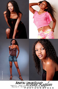 Comp card of a female model with long black hair modeling in various outfits for the camera by Alex Kaplan, Photographer http://www.AlexKaplanphoto.com