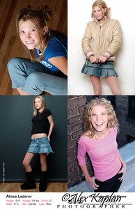 Comp card of a young female model with blond hair and blue eyes modeling in various outfits and poses for the camera Alex Kaplan, photographer by Alex Kaplan, Photographer http://www.AlexKaplanphoto.com
