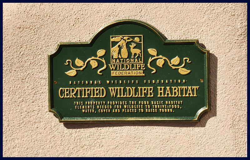 """""""Certified Wildlife Habitat"""" sign."""