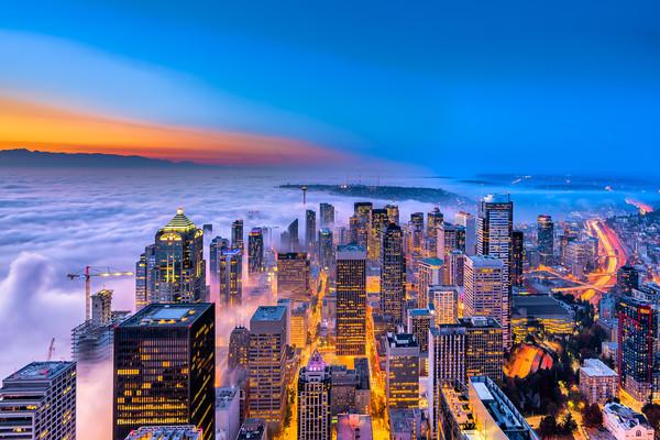 Seattle Fog Blue Hour