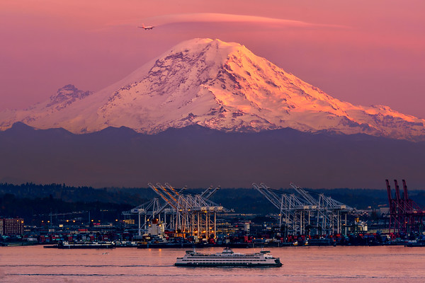 Mount Rainier and a Ferry Boat