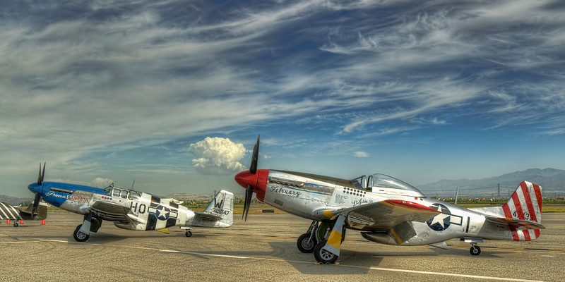 An HDR image of the ramp at the 2010 Planes of Fame airshow -- harsh light but I love the sky.