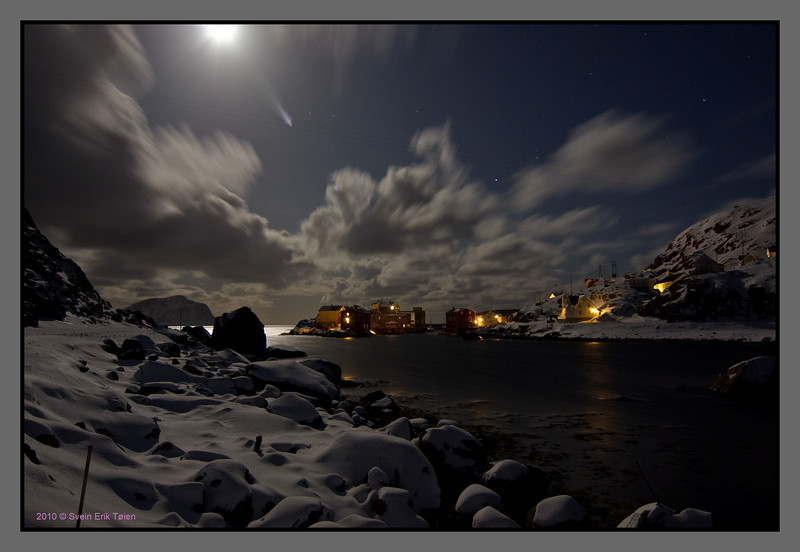 Moonlit night over Nyksund