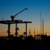 Dock crane in sunset