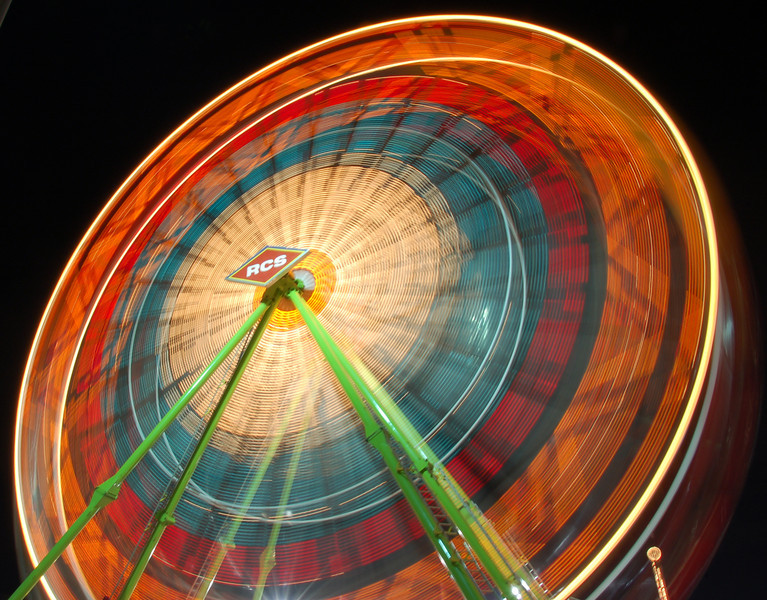 Giant Wheel at Arizona State Fair. Photograph taken at low shutter speed