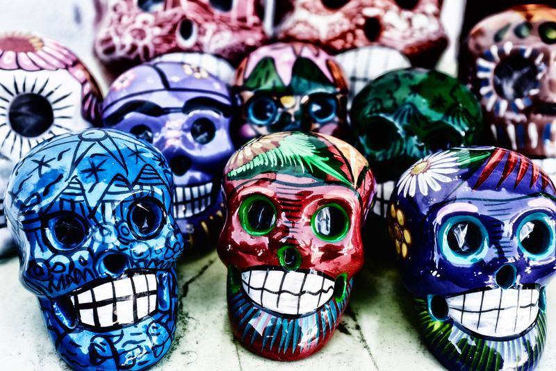 Colorful & Scary Skulls. Photo taken at Old San Diego Downtown