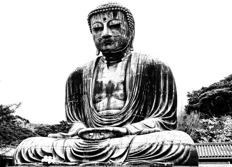 The famous Daibutsu Buddha statue in Kamakura, Japan