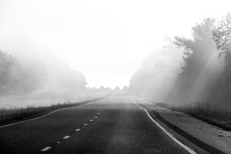 Early morning fog and mist on Tennessee highway.
