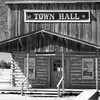 Town Hall building in old west park and museum at Salmon Park in east Texas.