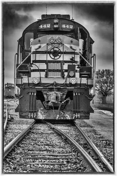 1960 Alco diesel locomotive engine number 442 in active service for the Austin Steam Train association, while their 1916 steam engine is under repair. Depot at Cedar park, Texas.