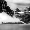 Crowfoot Glacier and Bow Lake in Alberta, Canada.