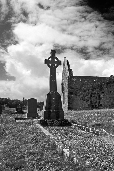 Ruins of Ireland abbey and cemetery.