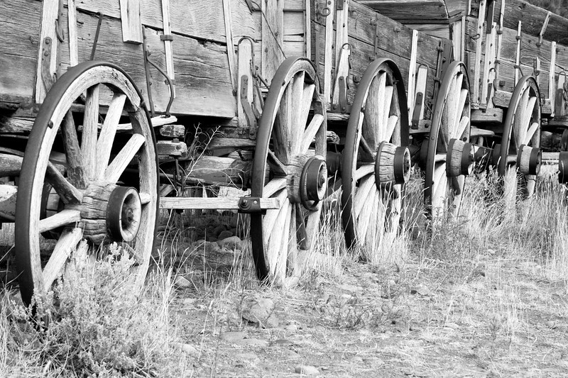 Wagon wheels in Trail Town, in Cody, Wyoming.
