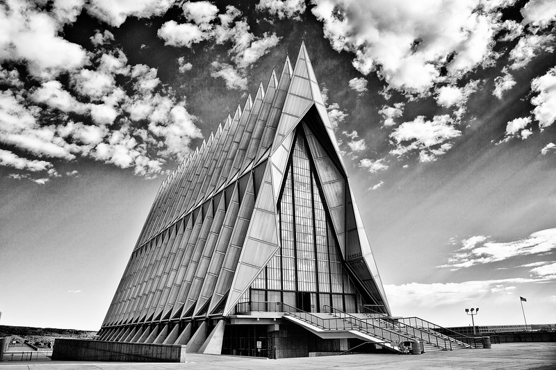 Air Force Academy Cadet Chapel, completed in 1962, at the United States Air Force Academy in Colorado Springs, Colorado.