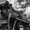 Canadian National Railroad Museum Steam Engine Locomotive at the CN Railroad Depot in the town of Jasper in Jasper National Park in Alberta, Canada.