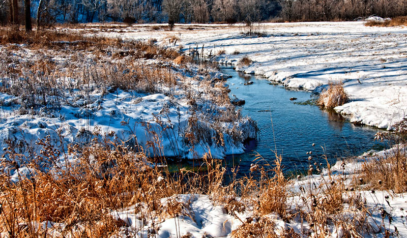 Fresh snow, Pine Creek, near Maiden Rock, Wisconsiin