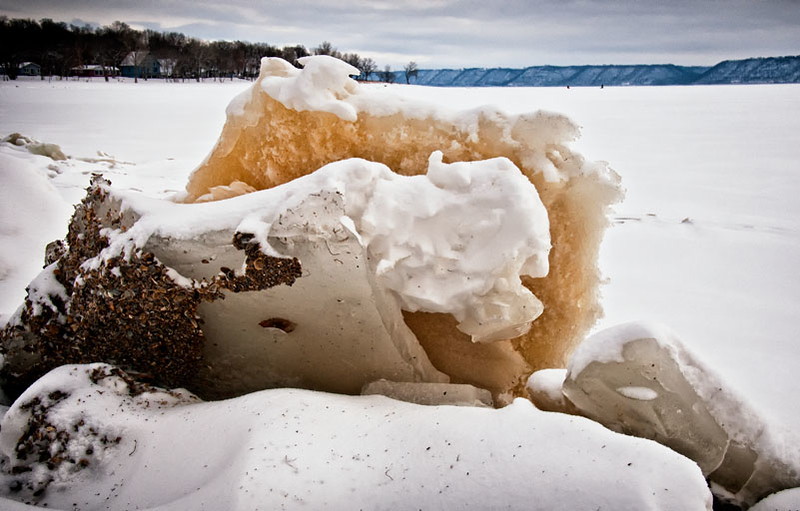 Ice floes viewed from Stockholm city park, Lake Pepin, Wisconsin