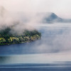 """Fog lifting over Lake Pepin and Minnesota's Frontenac State Park (""""Point No-Point"""")"""