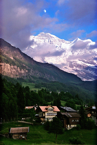 Wengen, Switzerland, moonrise over Jungfrau