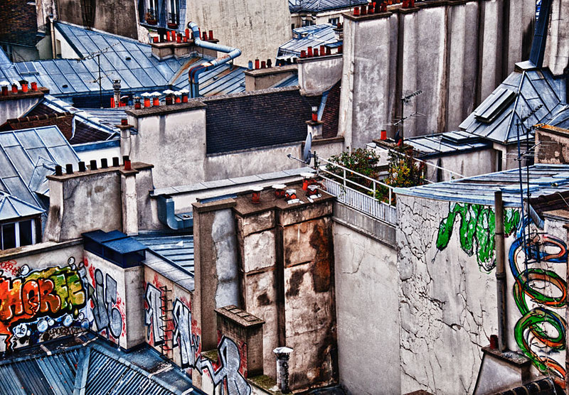 Paris, view of rooftops and graffiti from window of Pompidou Center