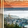 Window reflections of Montreux, Switzerland, Lake Geneva and French Alps