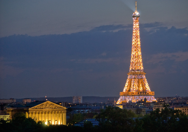Paris, Eiffel Tower, night view, Chamber of Deputies in foreground