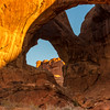 Double Arch at Sunrise in Arches National Park in Utah.