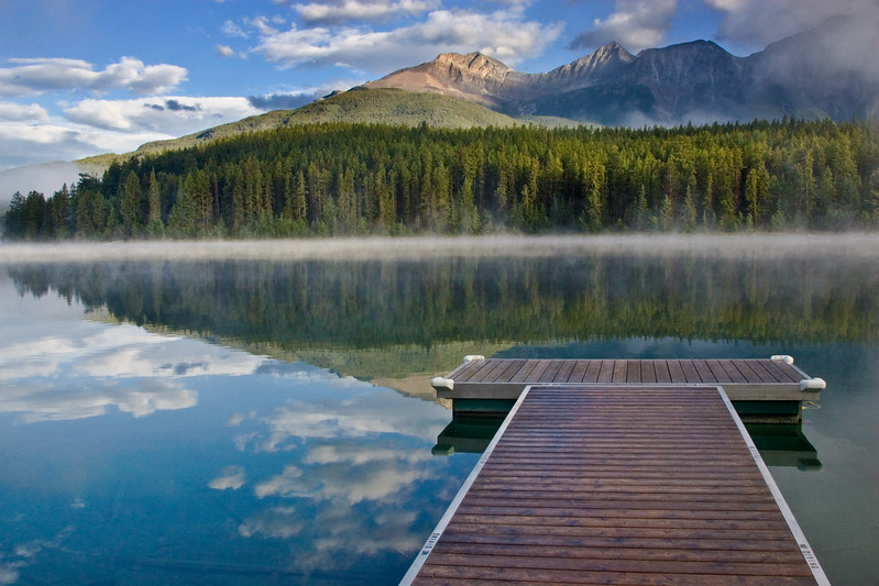Reflections on Patricia Lake in Jasper National Park, Alberta, Canada.