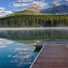 Reflections on Patricia Lake in Jasper National Park, Alberta, Canada.