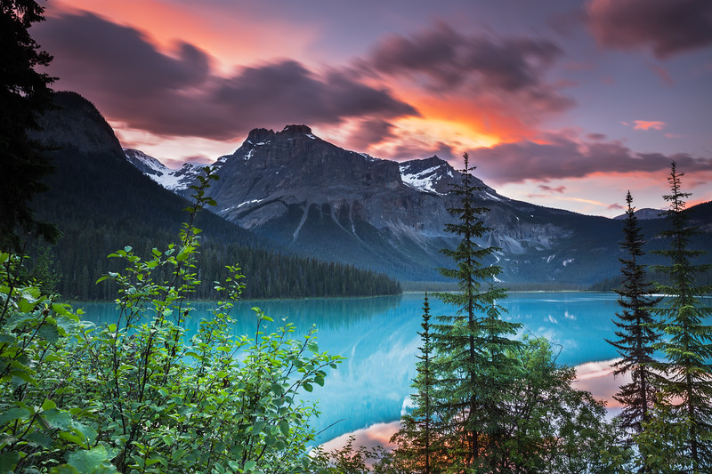 Thunderstorm and sunset at Emerald Lake.