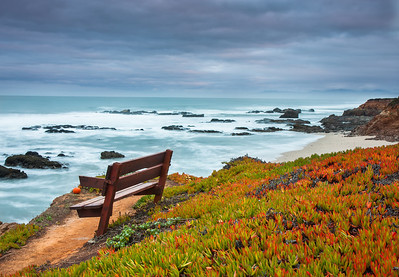 I arrived here before sunrise. It was partly cloudy and that helped suppress the highlights in the sky. Some colors began to show in the sky. The bench and the ice plants looked to me very interesting. Exposed for 5 secs with aperture f/14. Obtained a well exposed foreground.
