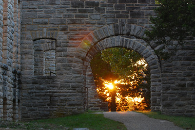 Late afternoon sun framed by the entrance portico at the main house, Ha Ha Tonka State Park just outside Camdenton, Missouri