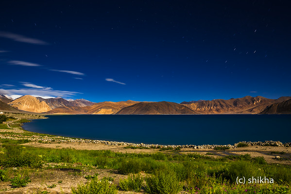 Pangong lake in full moon light