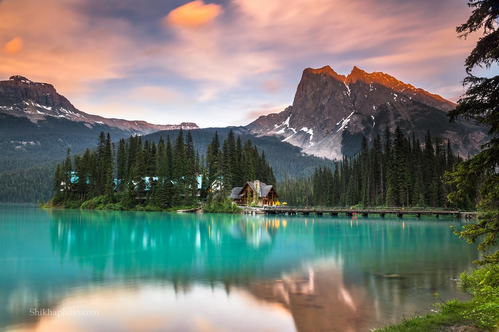 Emerald lake during sunset