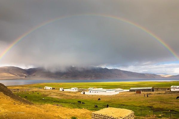 Tso Moriri Lake  - Beautiful rainbow spans a high altitude (over 15000 ft) lake.